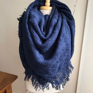 ASOS oversized navy knit blanket scarf